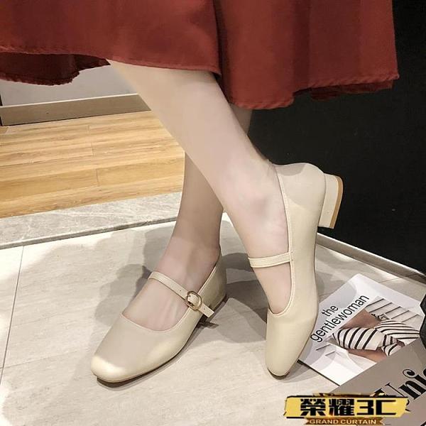 低跟鞋 2021春季新款復古奶奶鞋粗跟瑪麗珍女鞋豆豆鞋低跟單鞋配裙子的鞋【99免運】