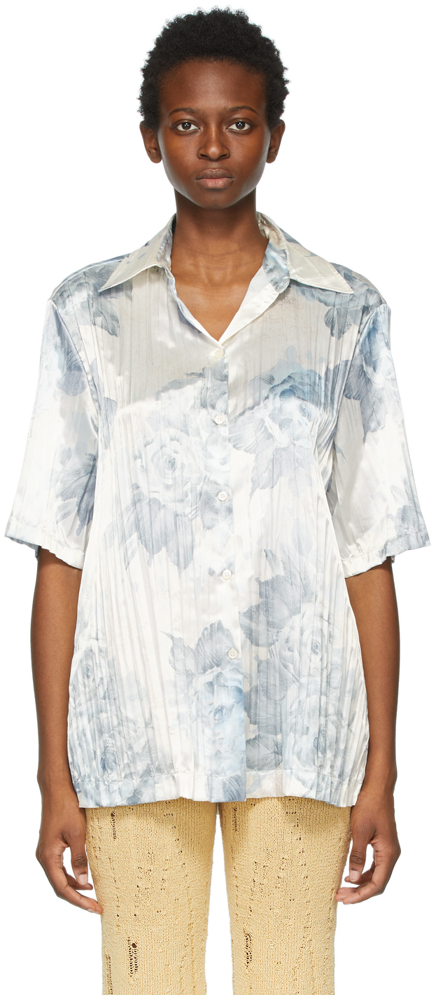 Acne Studios 白色花卉褶裥短袖衬衫