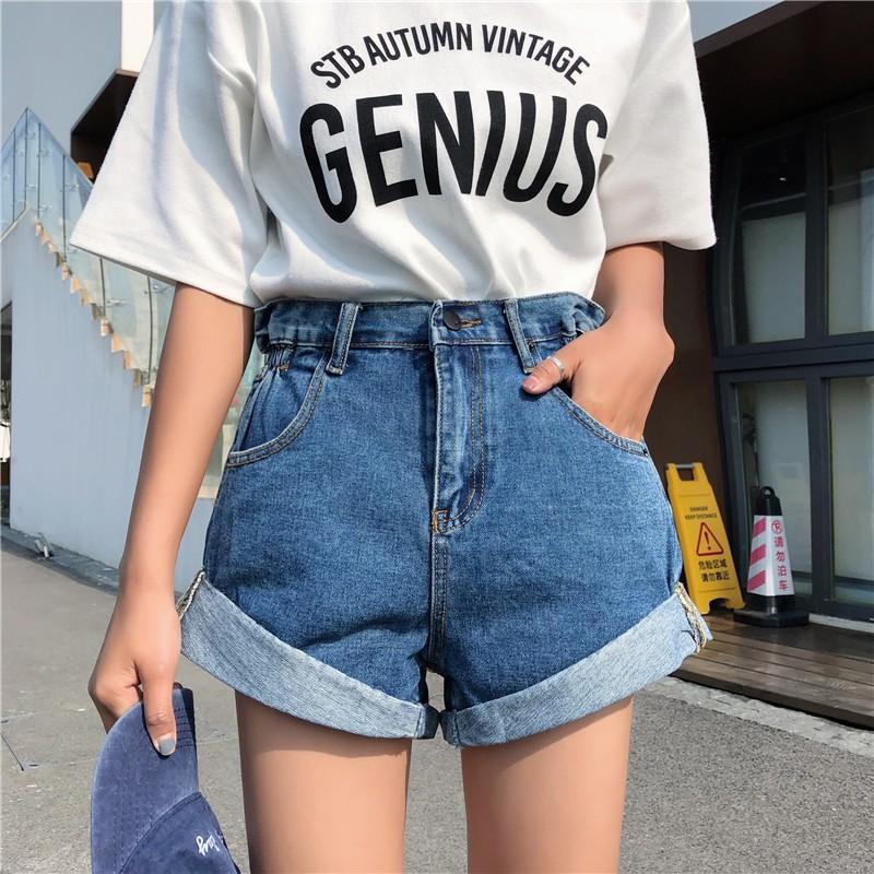 AHUA阿華有事嗎 韓系側邊鬆緊牛仔高腰短褲 2色售 C0659 四季百搭女裝 簡約休閒短褲 韓妞必備