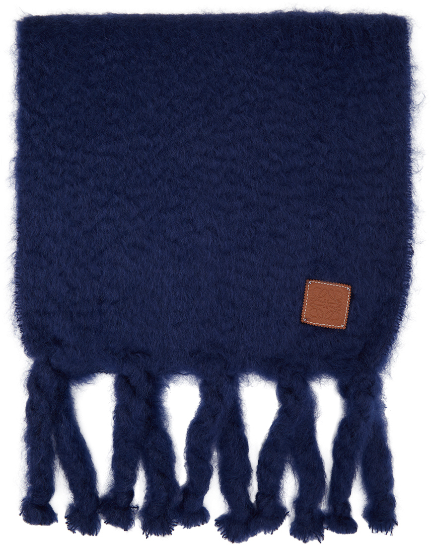 Loewe 蓝色马海毛围巾