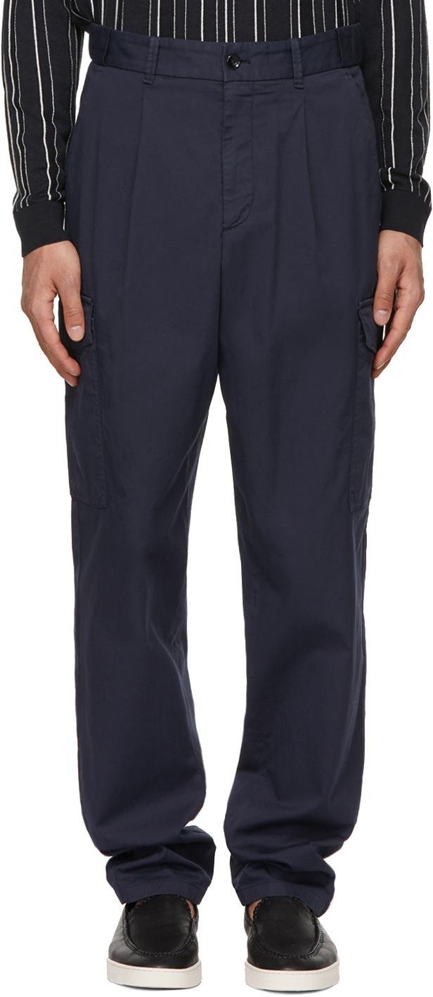 Giorgio Armani 海军蓝华达呢工装裤