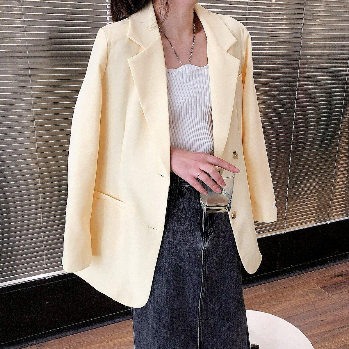 後背鈕釦西裝外套女春季款開叉小個子設計感西服上衣