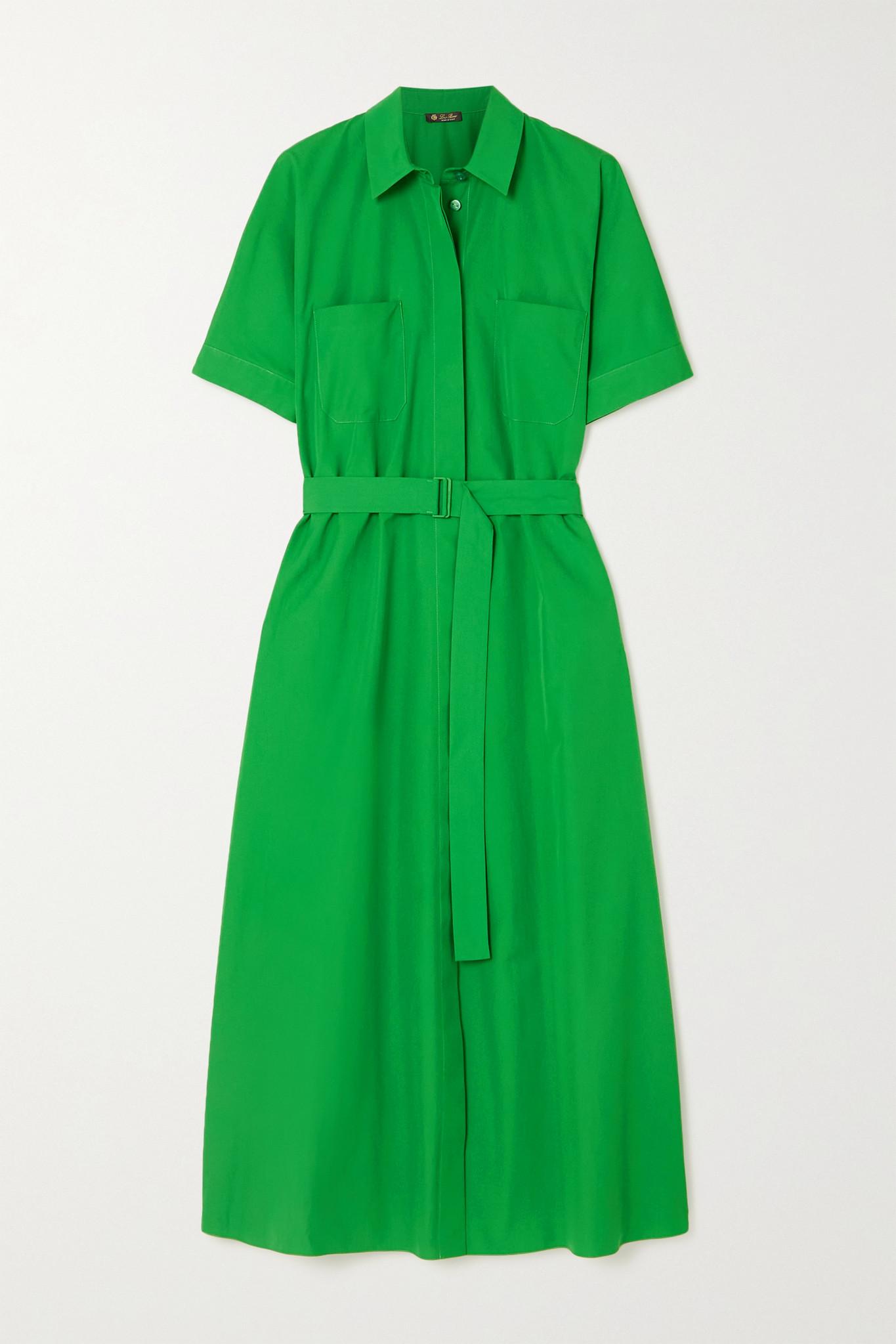 LORO PIANA - Miranda 配腰带棉质府绸中长衬衫式连衣裙 - 绿色 - small