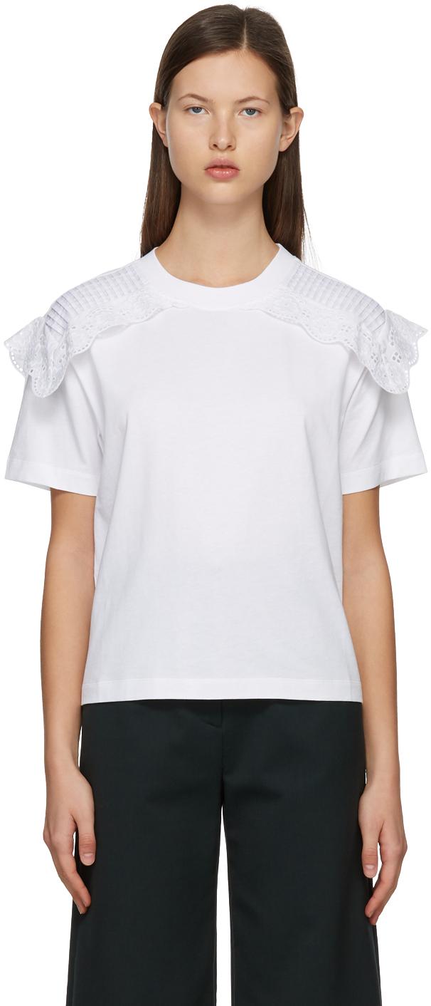 See by Chloé 白色蕾丝拼接 T 恤