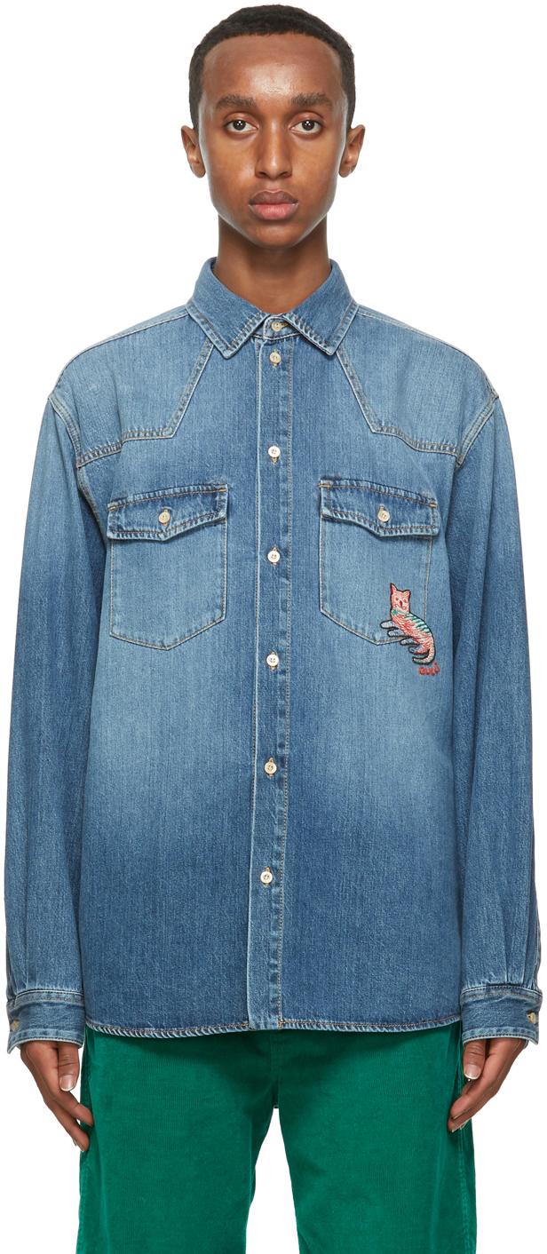 Gucci 蓝色水洗牛仔衬衫