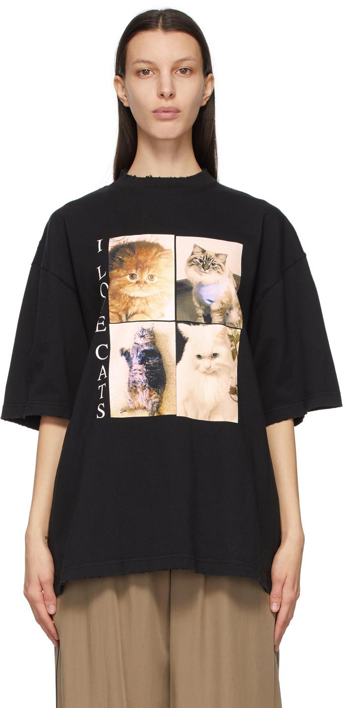 """Balenciaga 黑色 I LOVE PETS 胶囊系列""""I Love Cats"""" XL Fit T 恤"""