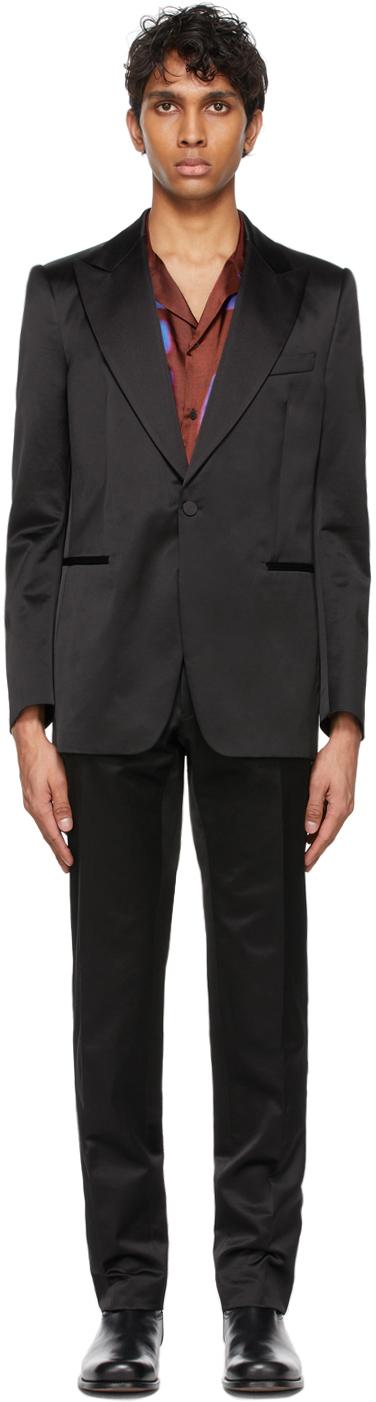 Dries Van Noten 黑色缎面晚装礼服