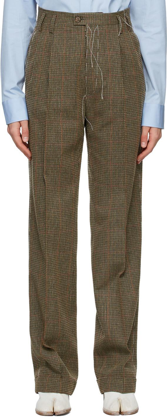 Maison Margiela 棕色 Heavy 格纹长裤