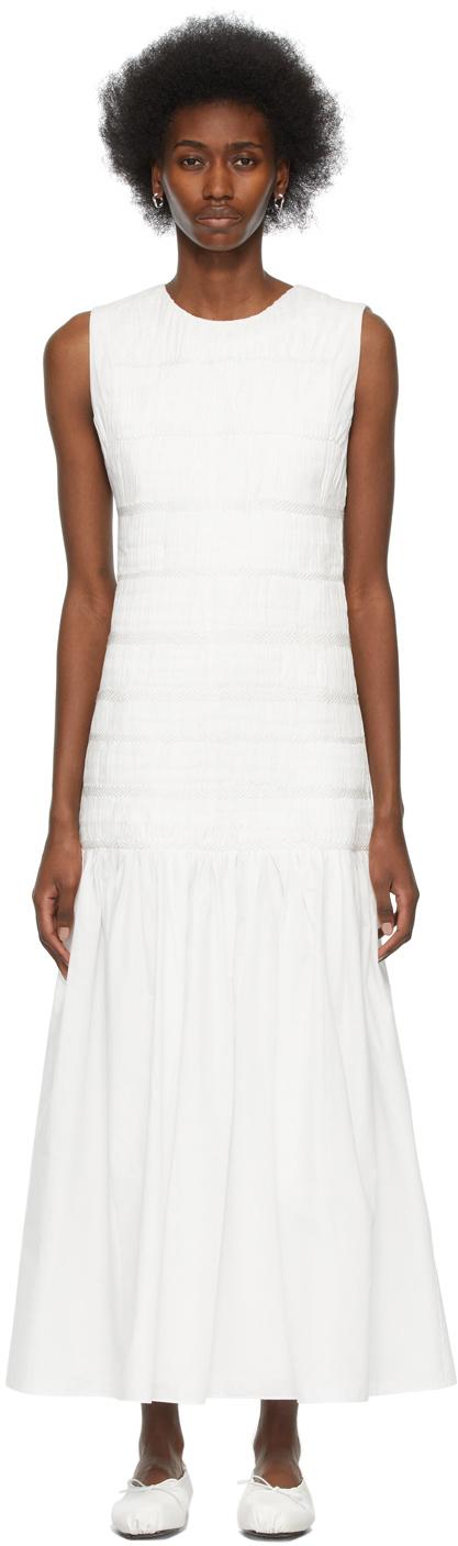 SIR. 白色 Cecil 褶饰有机棉连衣裙