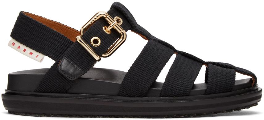 Marni 黑色 Fussbett 凉鞋