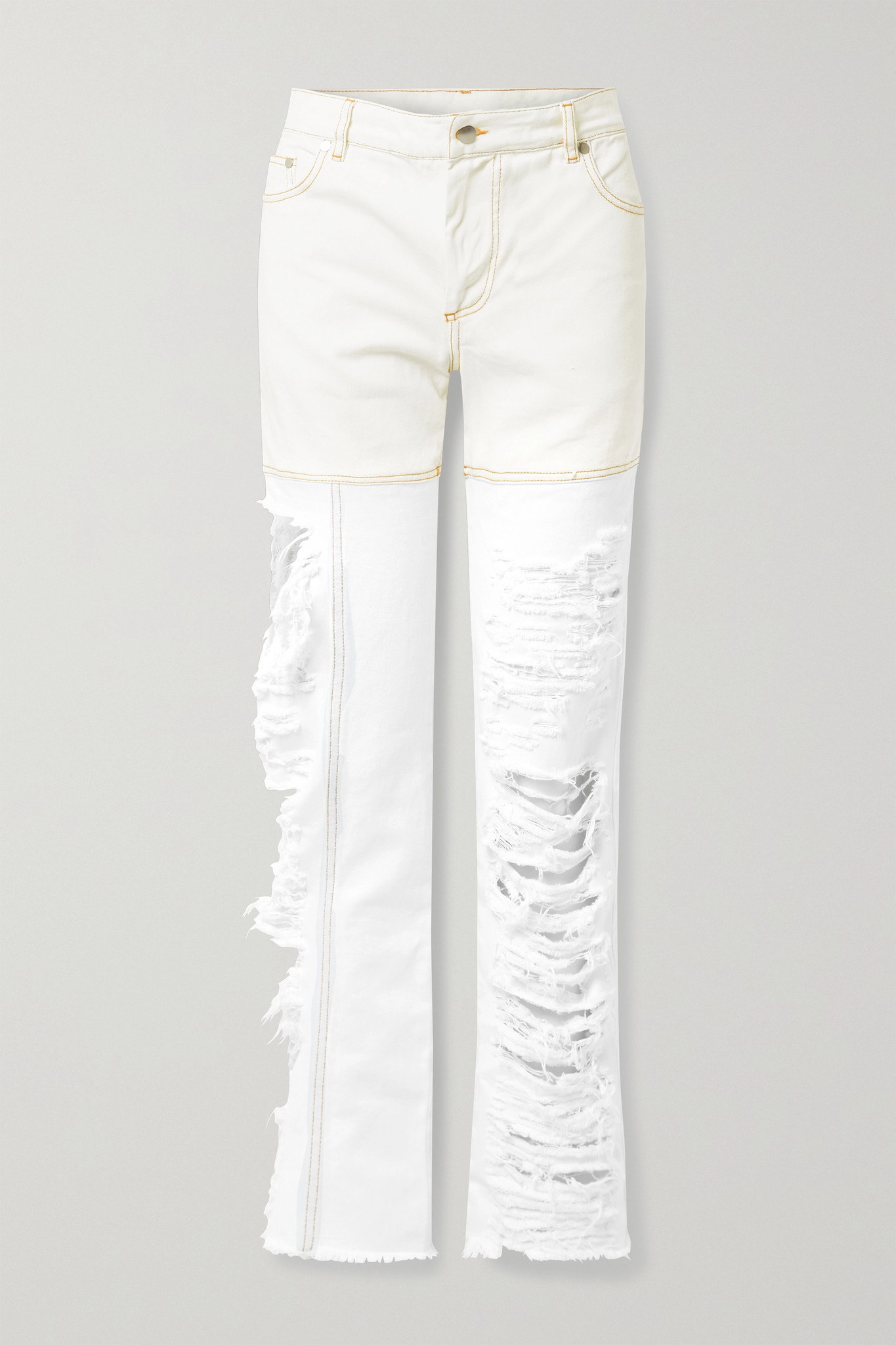 PETER DO - 仿旧双色高腰直筒牛仔裤 - 白色 - FR36