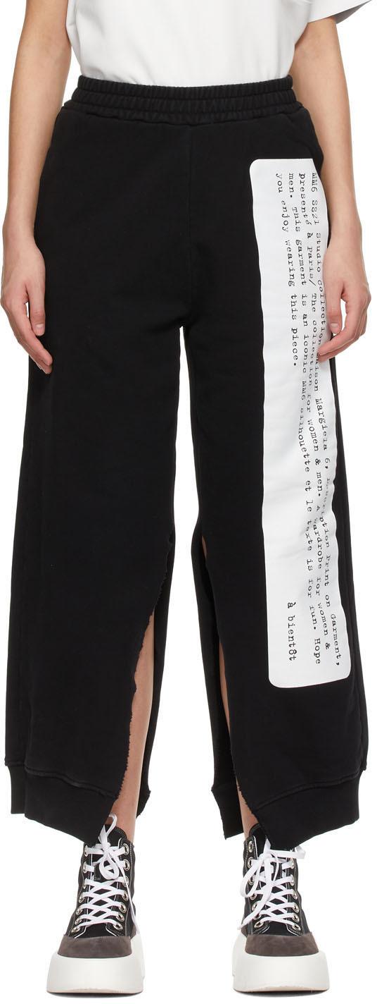 MM6 Maison Margiela 黑色 Split 文字图案运动裤