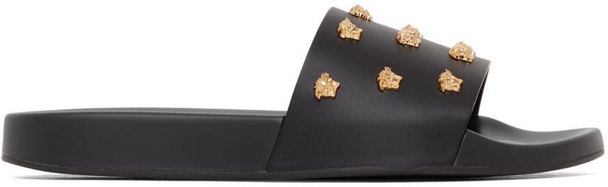 Versace 黑色 Medusa Stud 皮革拖鞋