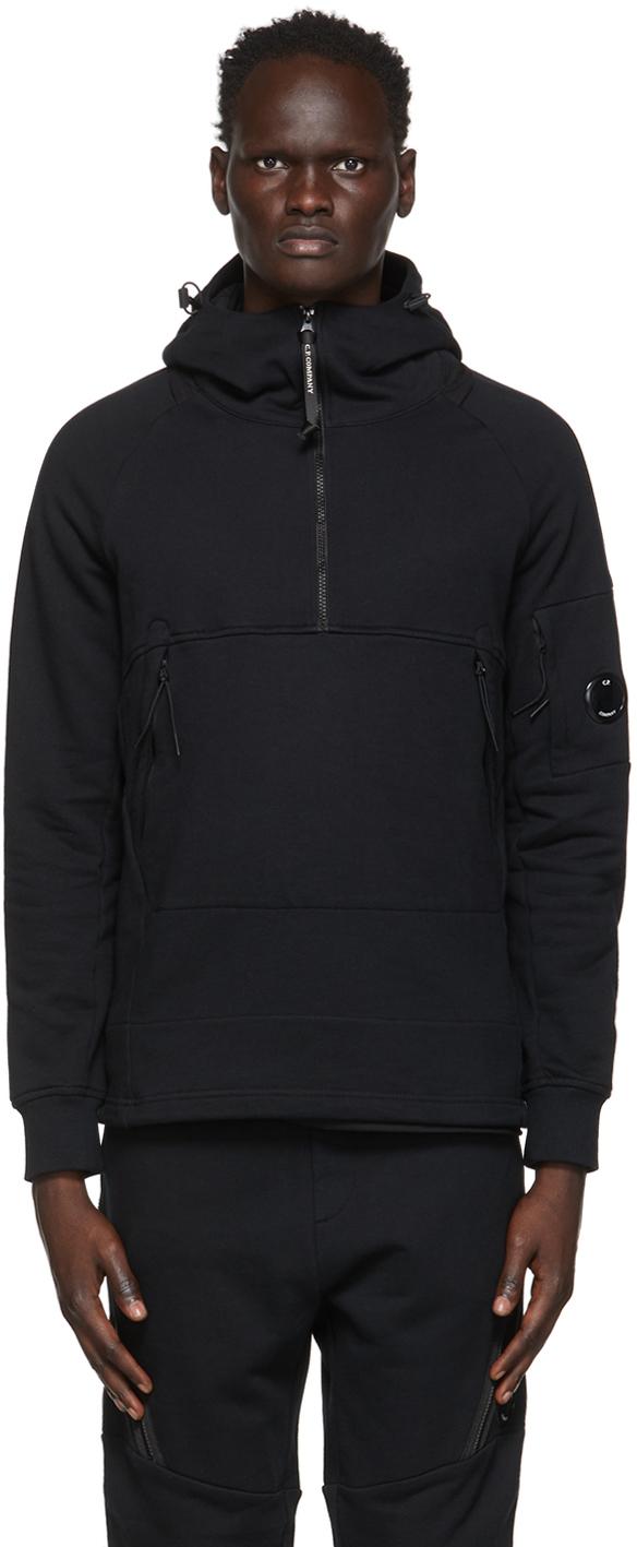 C.P. Company 黑色成衣染色半拉链连帽衫