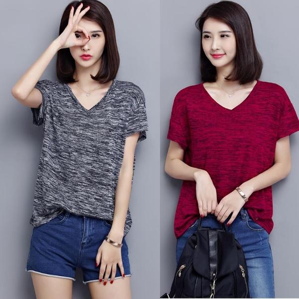 L-5XL實拍簡約BF風寬鬆簡約V領短袖T恤休閒上衣(2色)-凱西娃娃大碼女裝