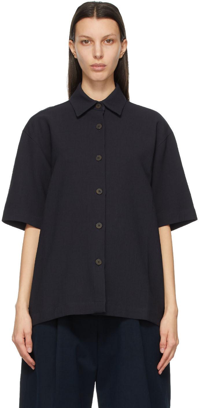 Studio Nicholson 海军蓝 Piero 短袖衬衫