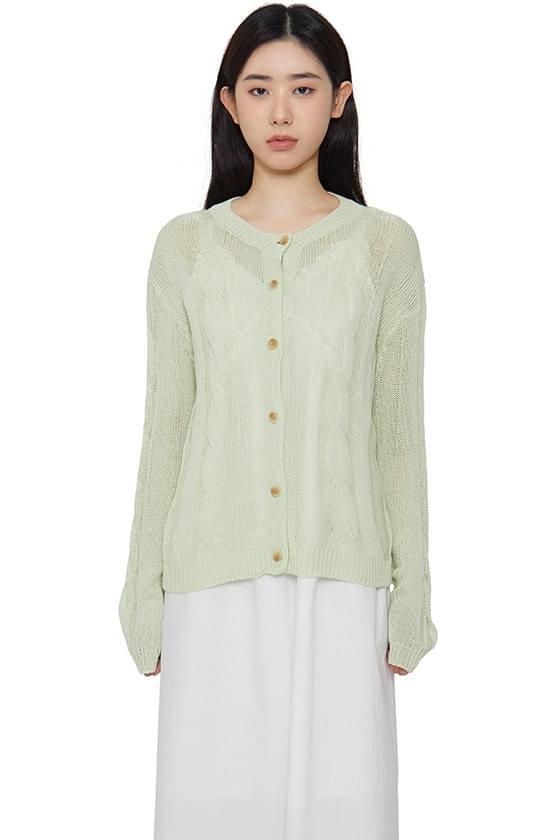 韓國空運 - Linen Twist Knitwear Cardigan 針織外套
