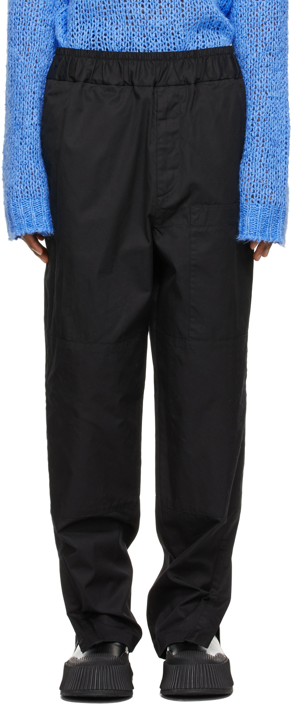 Jil Sander 黑色拼接长裤