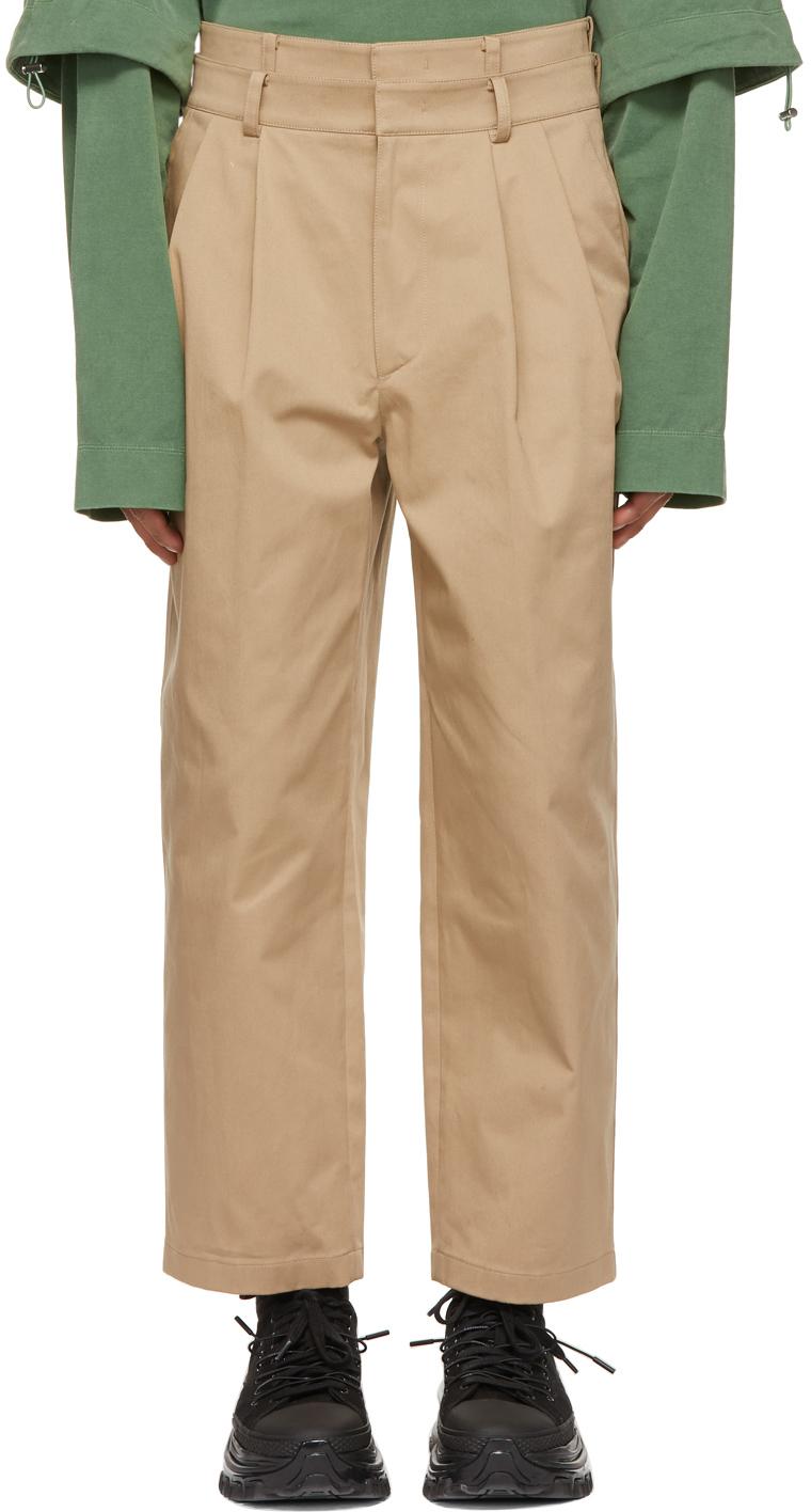 Juun.J 驼色 Two-Pleat Double Waistband 长裤