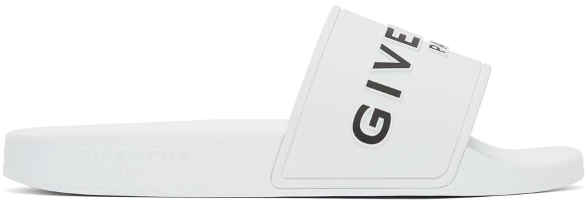Givenchy 白色徽标拖鞋