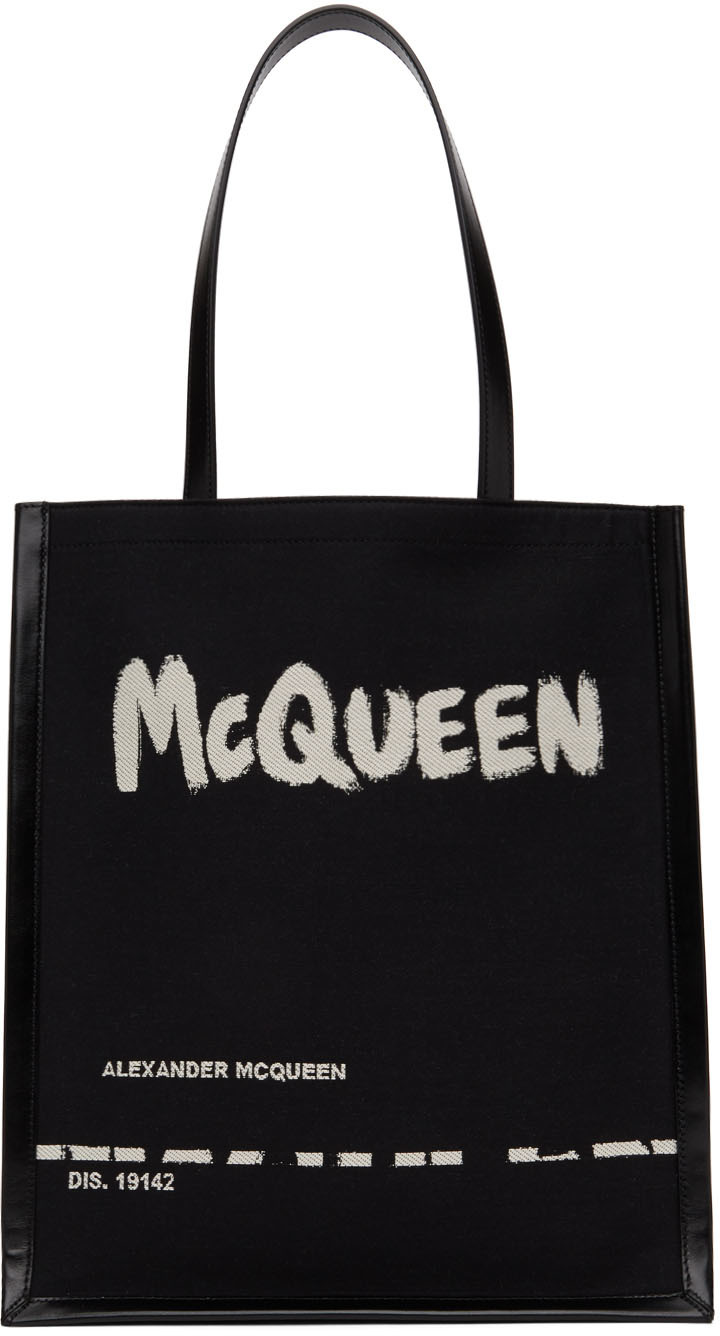 Alexander McQueen 黑色 Graffiti Logo 托特包