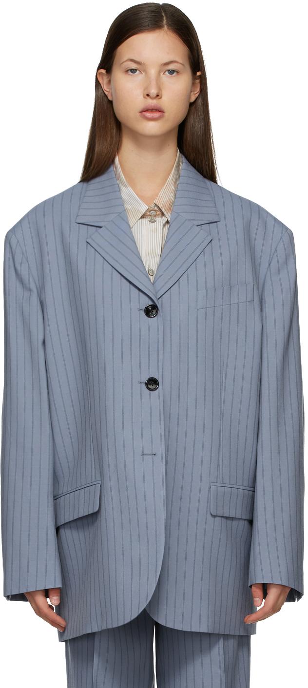 Acne Studios 蓝色细条纹羊毛西装外套