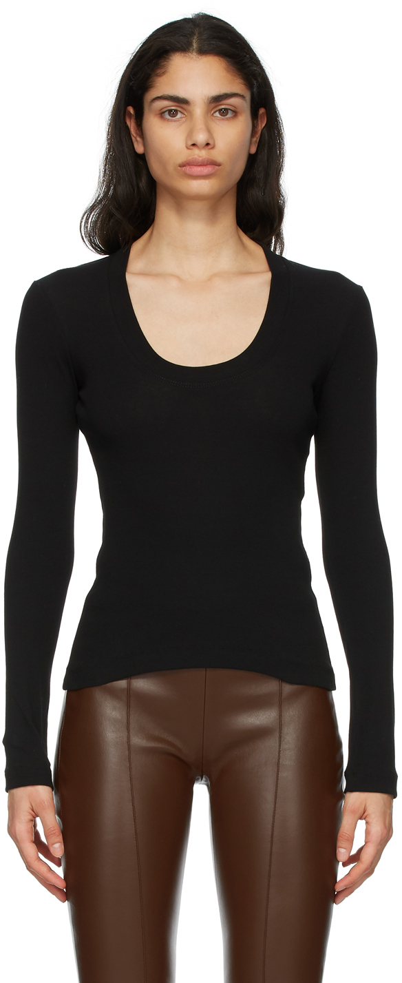 Rosetta Getty 黑色 U-Neck 长袖 T 恤