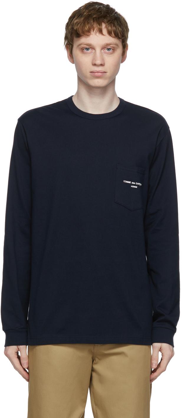Comme des Garçons Homme 海军蓝贴袋徽标长袖 T 恤