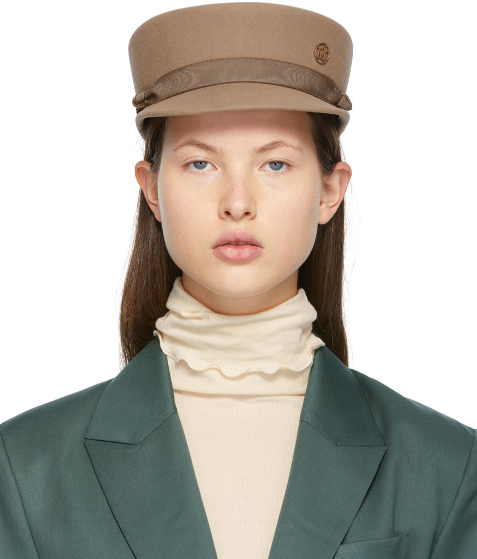 Maison Michel 驼色 New Abby 毡制报童帽
