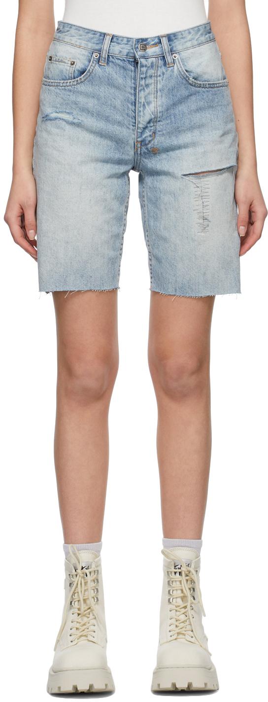 Ksubi 蓝色 Brooklyn Trashed 短裤