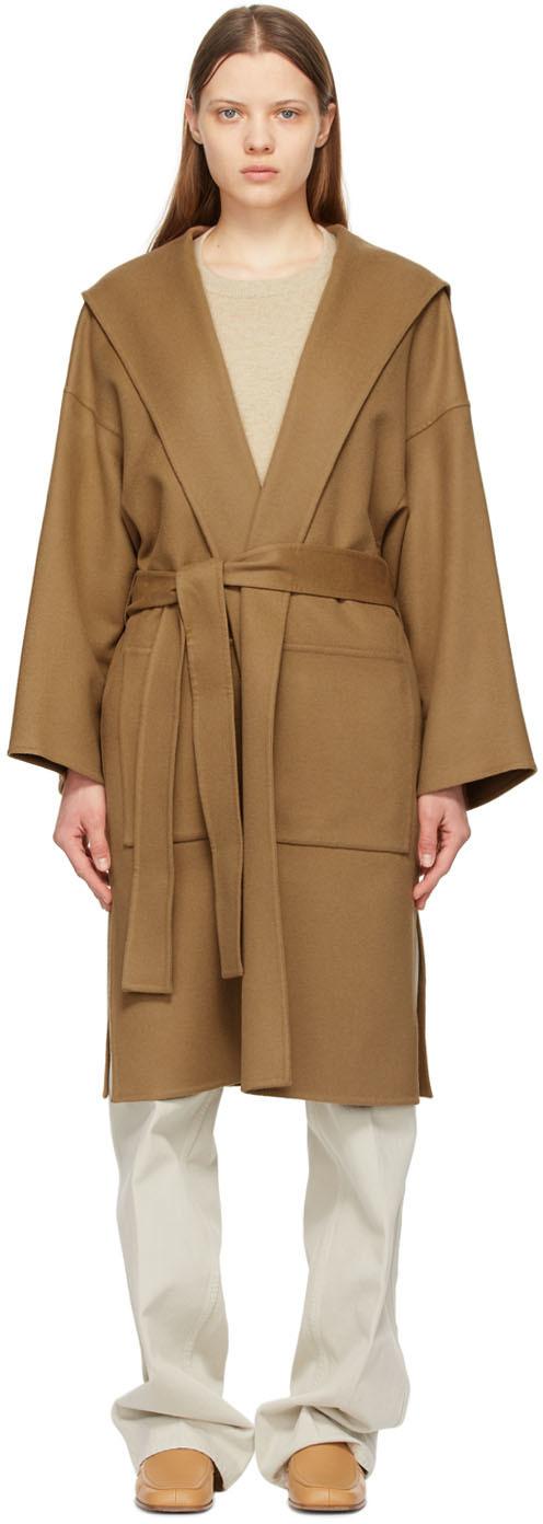 Loewe 棕色束带连帽大衣