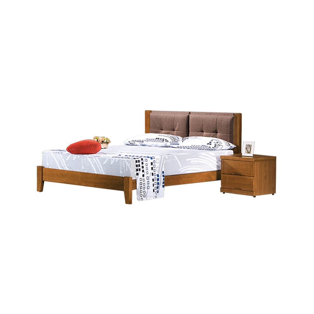 柚木色布面6尺床台