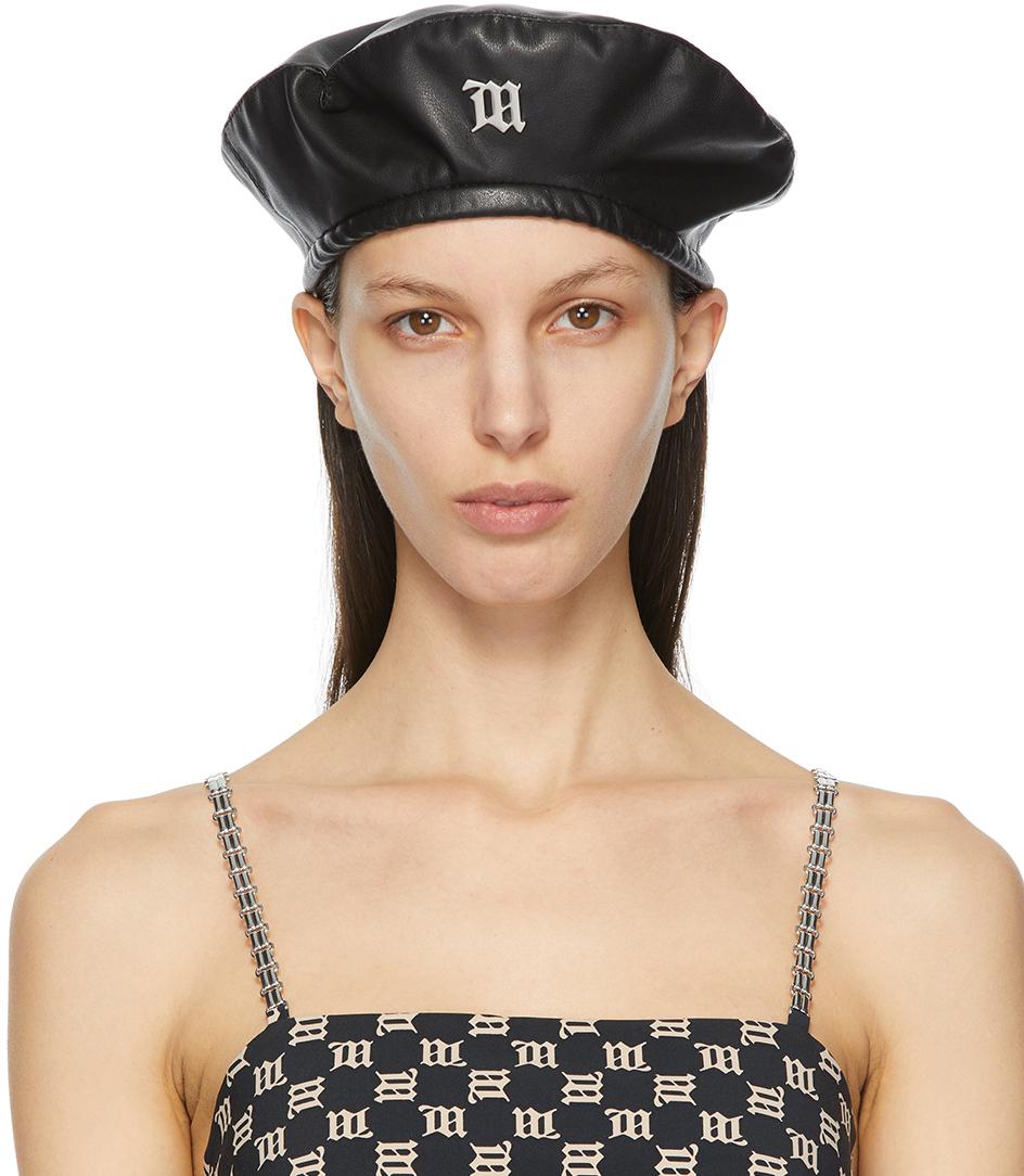 MISBHV 黑色 Monogram 纯素皮革贝雷帽