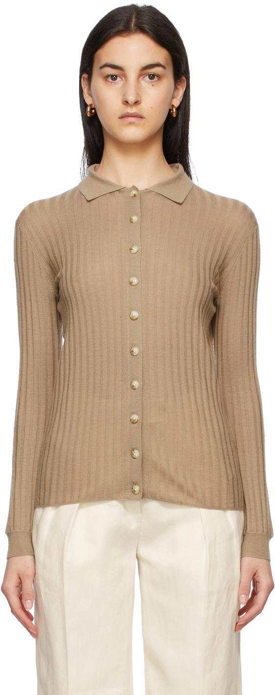 Loulou Studio 棕色 Sulug 长袖 Polo 衫