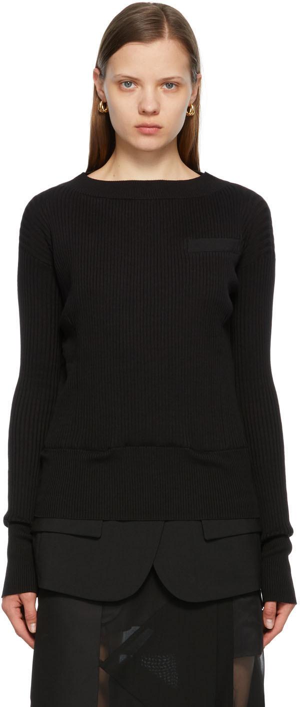 Sacai 黑色 Suiting 针织衫