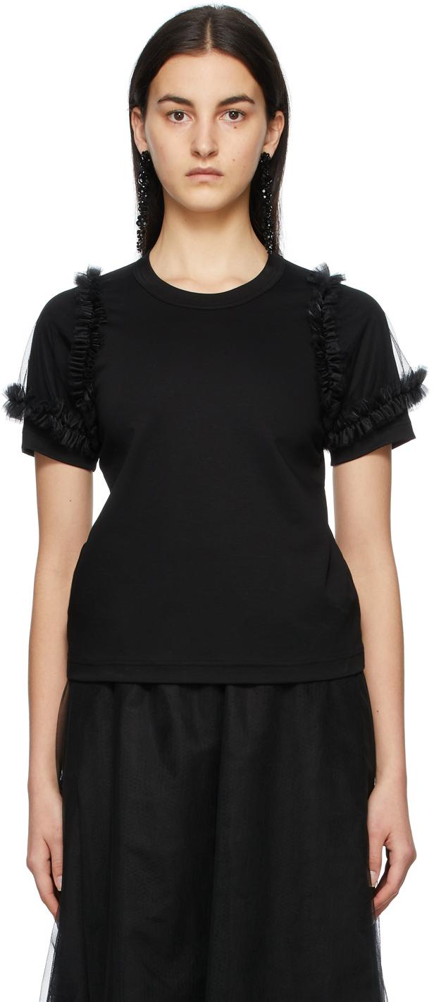Noir Kei Ninomiya 黑色 Tulle Sleeves T 恤