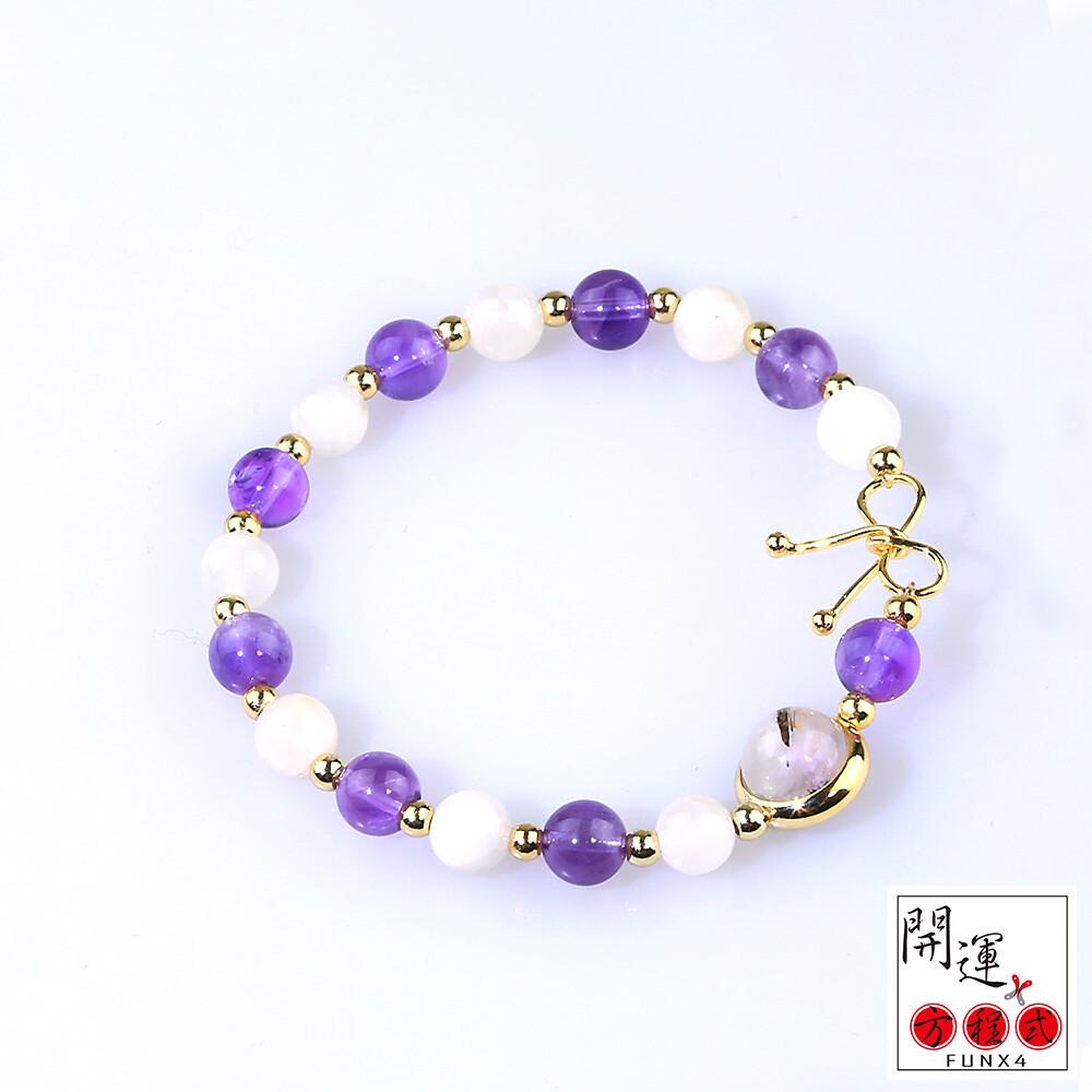 開運方程式白月光石紫水晶黑髮晶轉運珠手鍊(精選高紫度)