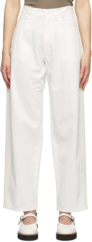Y's 白色 U-Side Stripe 牛仔裤