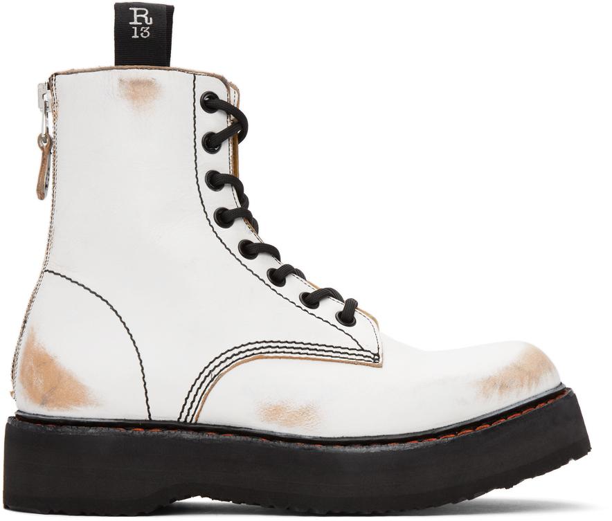 R13 白色 Stack 做旧踝靴