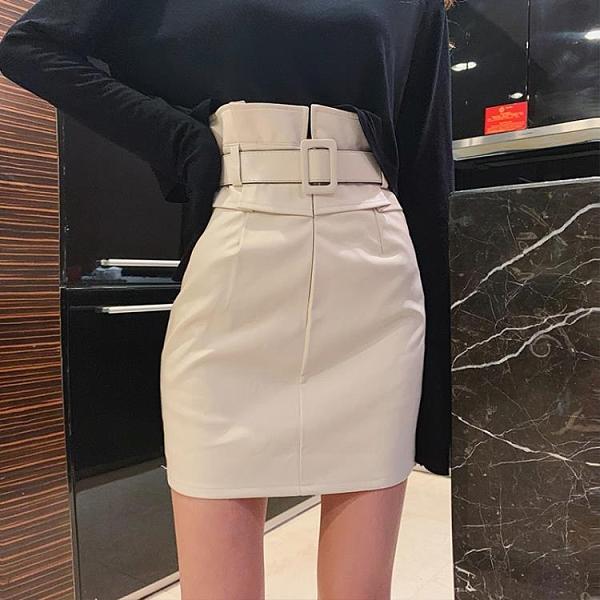 皮裙 皮裙新款百搭秋冬季高腰半身裙女裝顯瘦緊身氣質包臀A字短裙 快速出貨