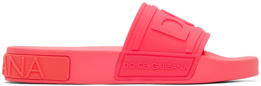 Dolce & Gabbana 粉色徽标拖鞋