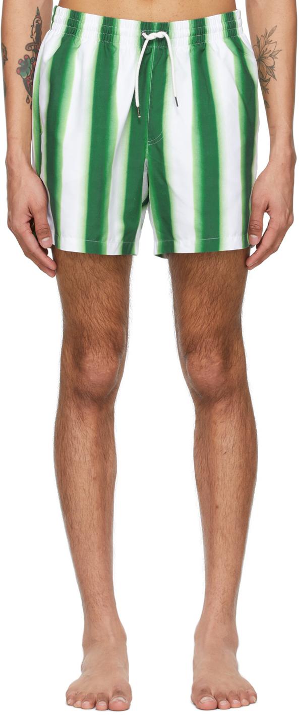 Dries Van Noten 绿色 & 白色 Len Lye 联名条纹短泳裤