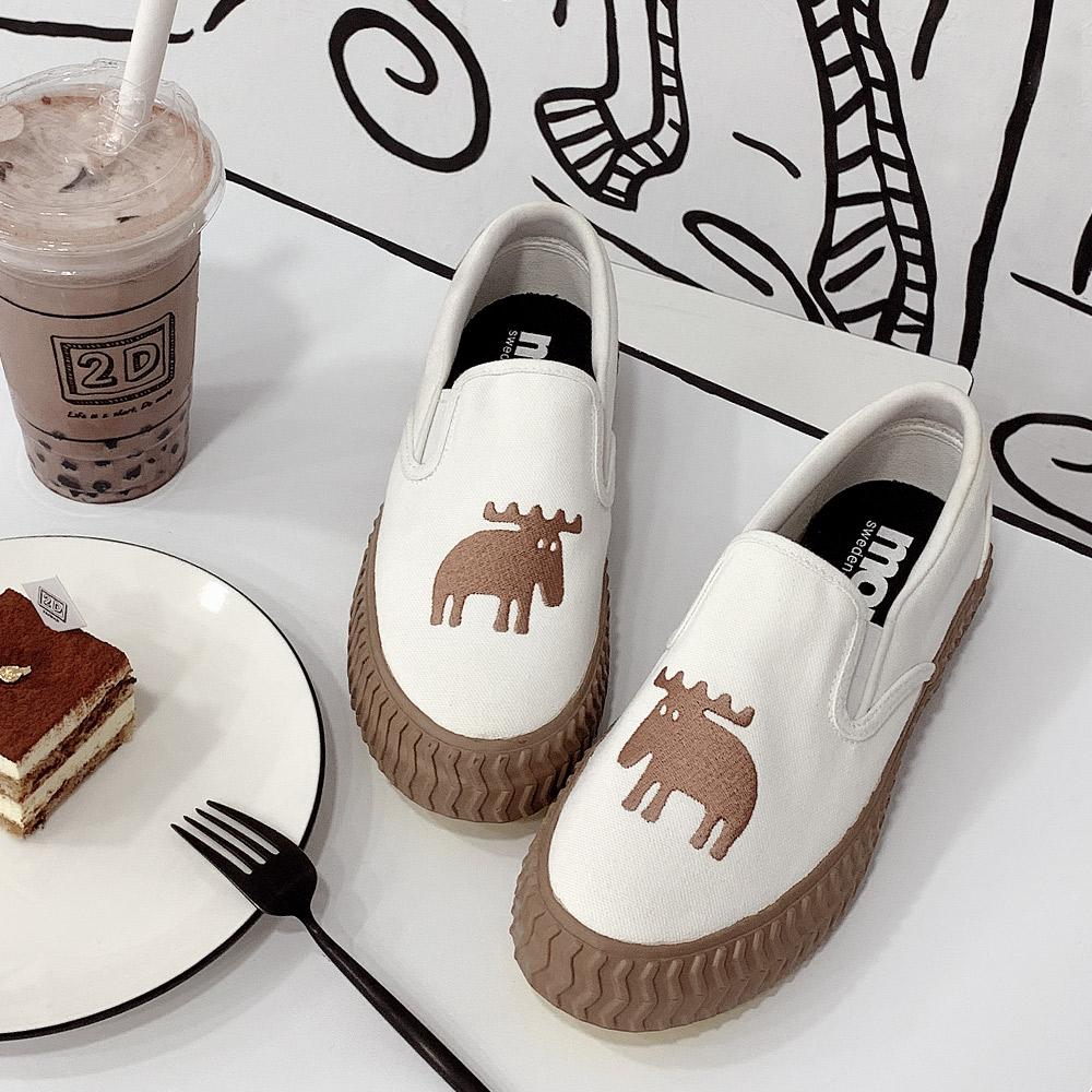 moz瑞典 懶人餅乾休閒鞋(經典白)