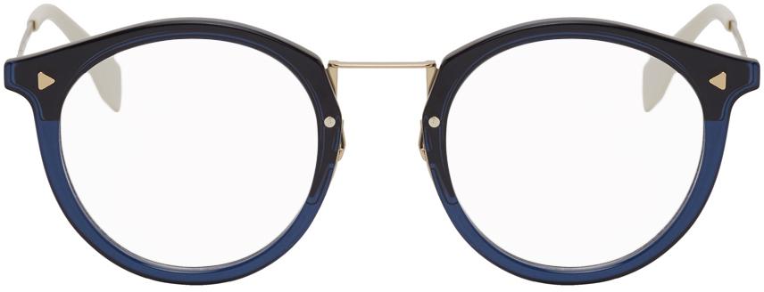 Fendi 海军蓝 & 金色 Teacup 眼镜