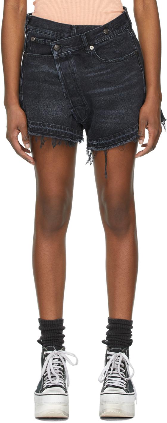 R13 黑色 Crossover 牛仔短裤