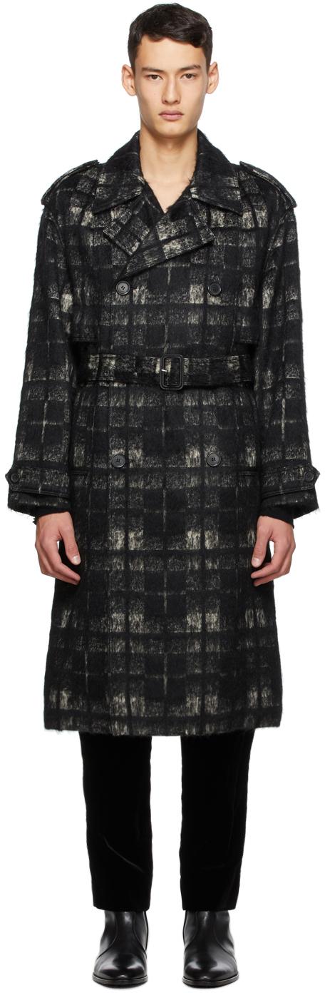 Saint Laurent 黑色 & 米色格纹大衣