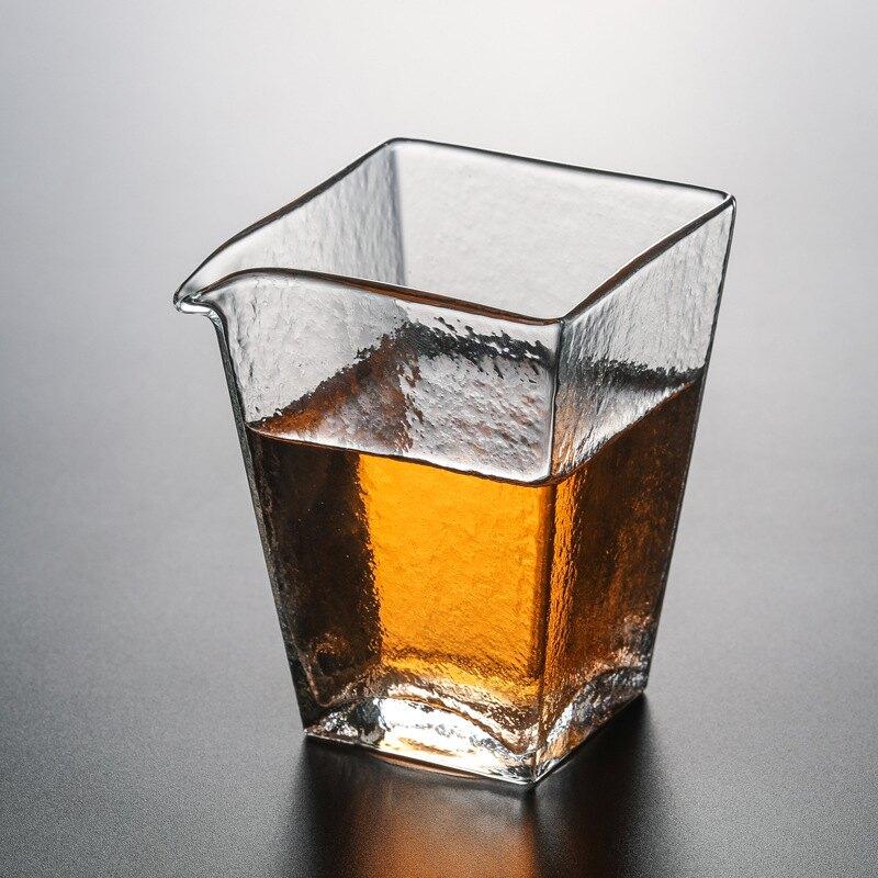 日本耐熱手工玻璃公道杯方公杯碎紋杯茶海錘紋杯功夫分茶器茶具