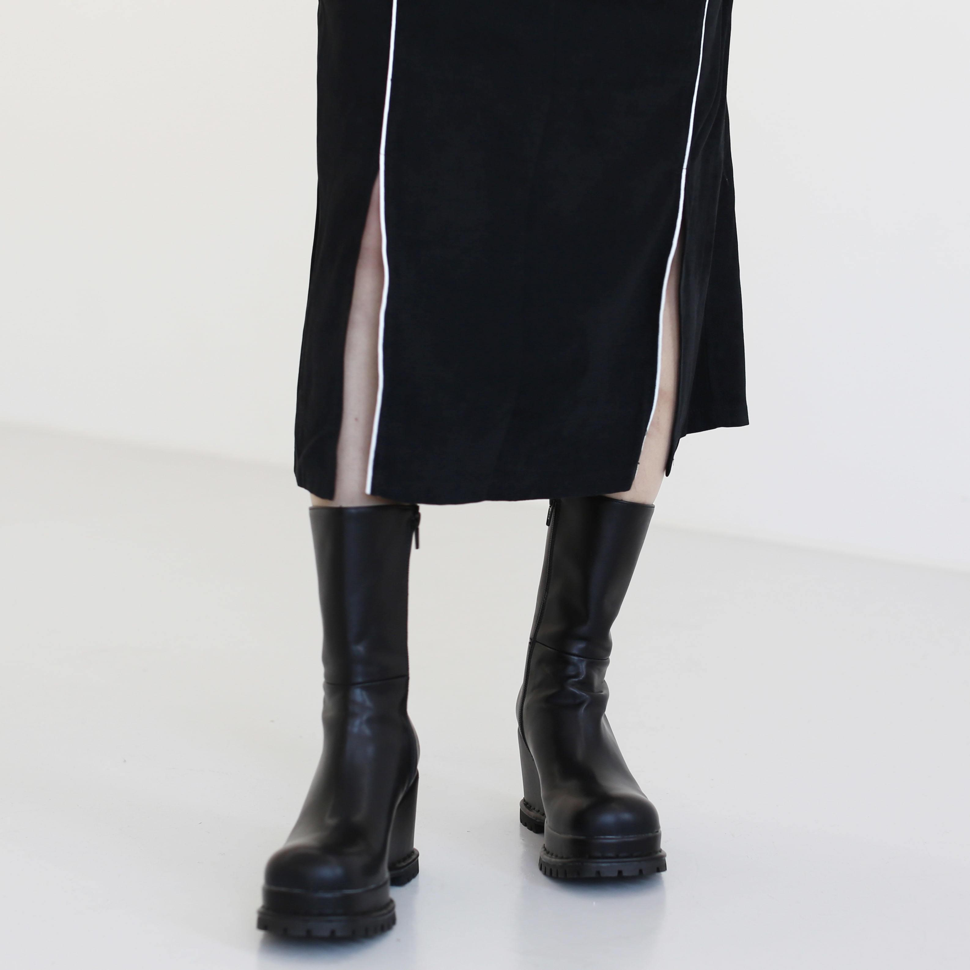 韓國空運 - Stubby wedge half boots 靴子