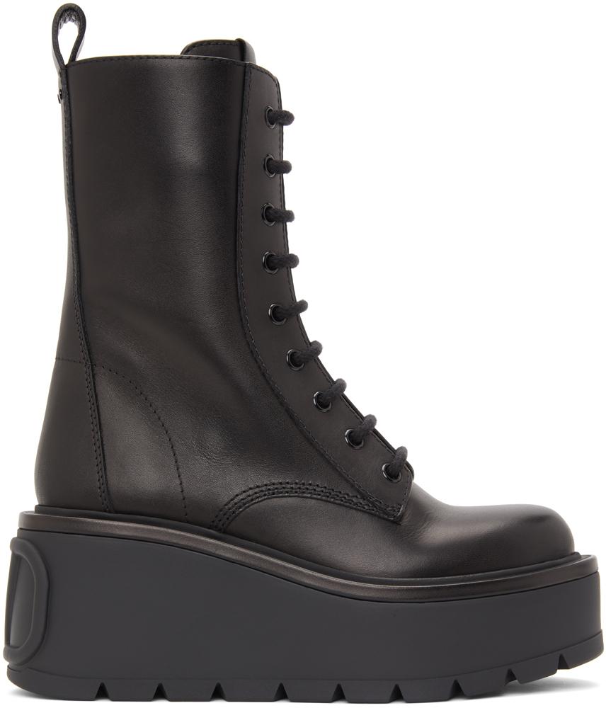 Valentino Garavani 黑色 Valentino Garavani VLogo 中筒靴