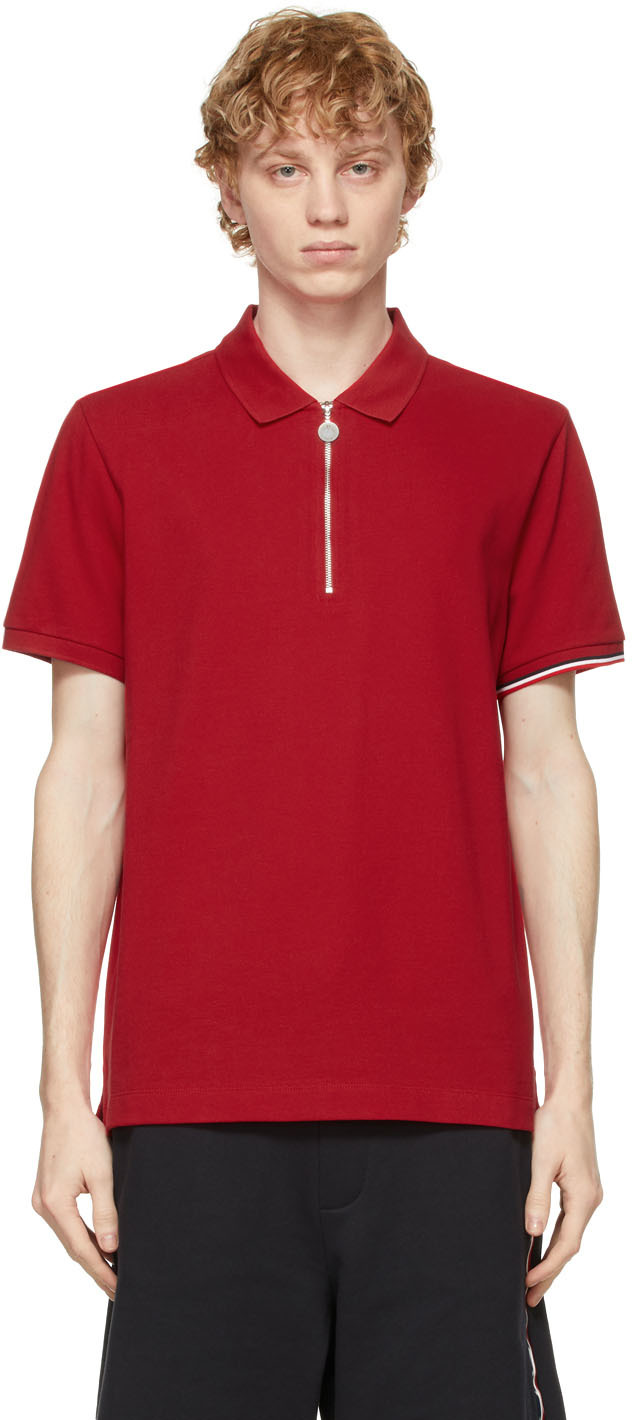 Moncler 红色拉链 Polo 衫